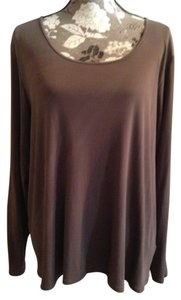 Eileen Fisher Plus-size Brown 18 22 T Shirt Cocoa