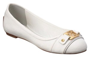 Tory Burch Leather Clines White Flats