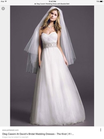 Oleg Cassini White Tulle Cpk440 Street Traditional Wedding Dress Size 6 (S) Image 1