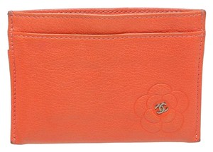 Chanel Chanel Coral Lambskin Camelia Card Holder