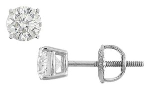 LoveBrightJewelry 14K White Gold Round Cubic Zirconia Stud Earrings 0.50 CT. TW.