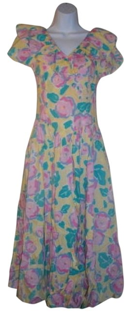 Multicolor Maxi Dress by Laura Ashley Vintage Floral Maxi Short Sleeves A- Line