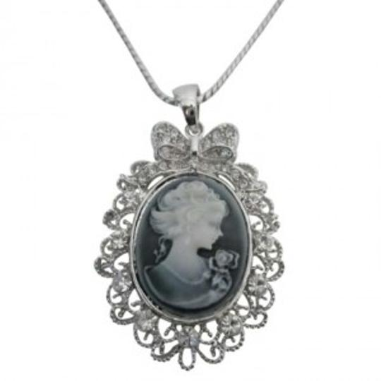 Preload https://item1.tradesy.com/images/grey-victorian-cameo-lady-pendant-necklace-sparkling-silver-casting-frame-jewelry-set-167745-0-0.jpg?width=440&height=440