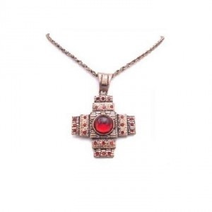 Red Square Bead Copper Necklace Jewelry Set