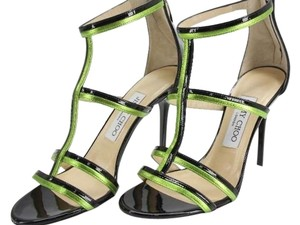 Jimmy Choo T Strap Caged Patent Leather Black and Green Sandals