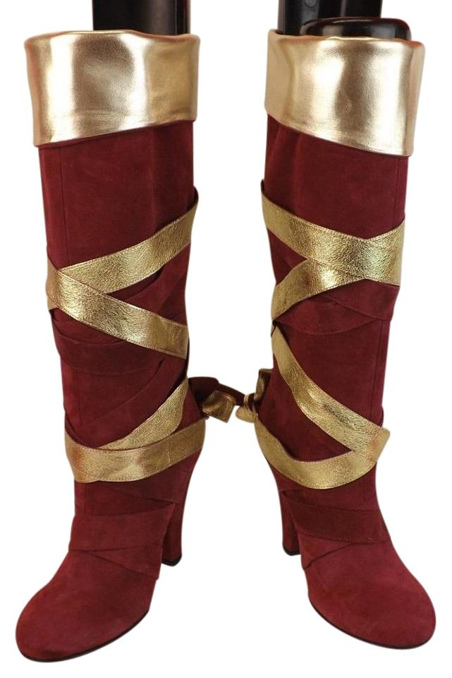 6bedddb986c Marc Jacobs Red Wine Suede Gold Strap Wrapped Knee High Evening Boots  Booties