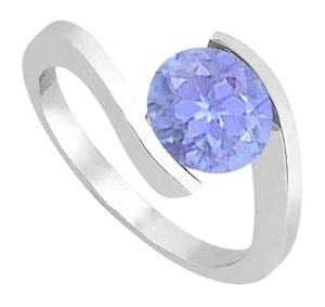 LoveBrightJewelry 925 Sterling Silver Fashion Created Tanzanite Solitaire Ring of One CT Total Gem Weight