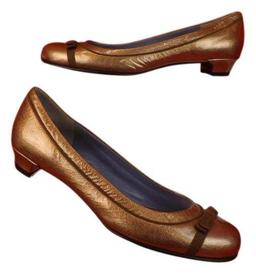 Preload https://img-static.tradesy.com/item/16774750/marc-by-marc-jacobs-bronze-patent-leather-round-toe-bow-ballerina-italy-flats-size-eu-375-approx-us-0-1-540-540.jpg