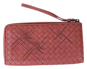 Bottega Veneta Bottega Veneta Zip Around Pink Intrecciato Nappa Leather Wallet