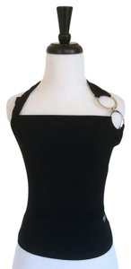 Versace Embellishment Black with Silver Metal Garnishment Halter Top