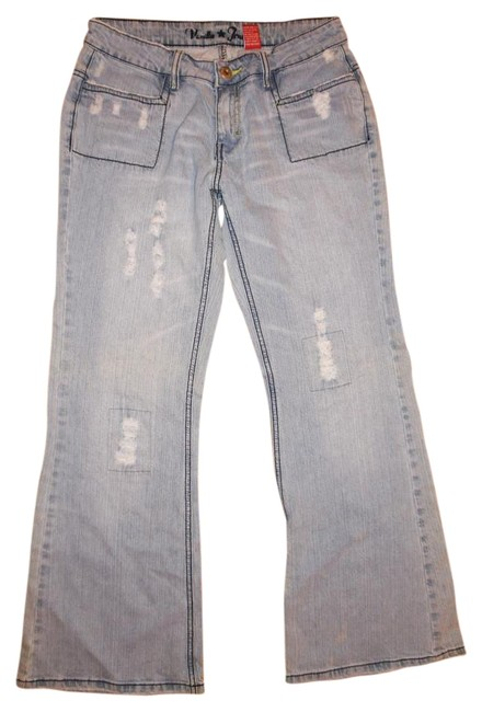 Item - Pale Light Blue Wash Ripped Distressed Faded Stretch Boot Cut Jeans Size 33 (10, M)