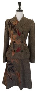 Dolce&Gabbana Dolce&gabbana Brown Tweed Jacket Skirt Set With Autumn Colored Leather Leaf Appliques