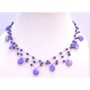 Blue Three Stranded Amethyst Necklace Shell Fancy Beads Choker Necklace Jewelry Set