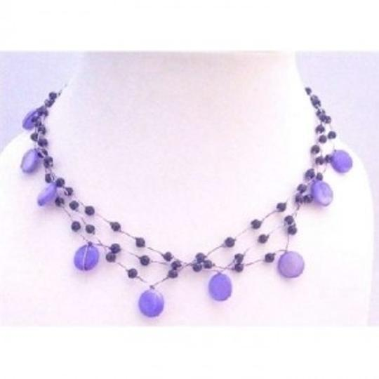 Preload https://item1.tradesy.com/images/blue-three-stranded-amethyst-necklace-shell-fancy-beads-choker-necklace-jewelry-set-167755-0-0.jpg?width=440&height=440