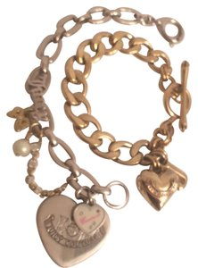 Juicy Couture 1st Gold T Heart W/J, 2nt Silver T Hearts W/Charms Juicy Couture