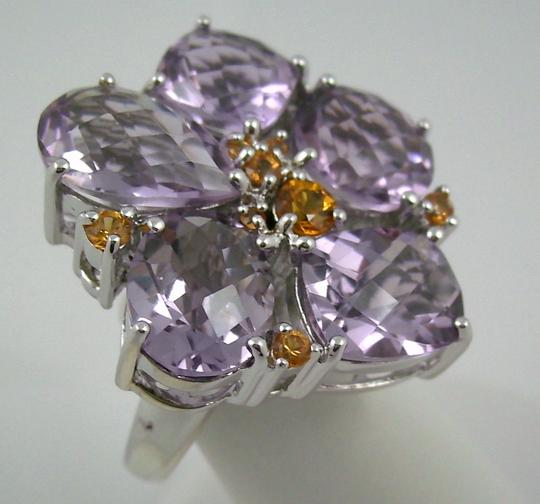 Sima K Sima K 11.42ct Amethyst and Orange Sapphire Sterling Silver Flower Ring - Size 8