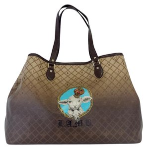 L.A.M.B. Brown Ombre Lamb Print Travel Bag