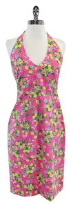 David Meister short dress Pink & Green Spotted Halter on Tradesy