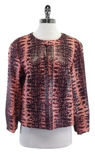 Lafayette 148 New York Pink Reptile Print Leather Leather Jacket