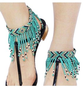 BelleB Women's Turquoise Boho Fringe Beaded Tribal Foot Ankle Jewelry OneSize