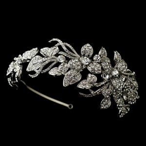Elegance By Carbonneau Antique Silver Rhinestone Flower Vine Wedding Headband