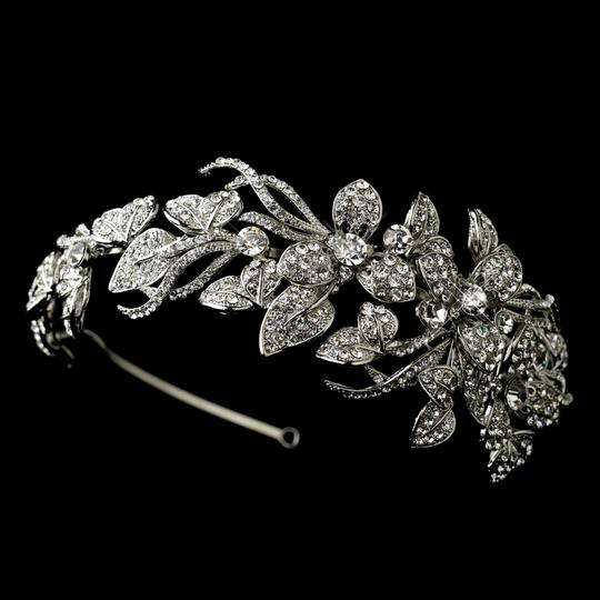 Elegance by Carbonneau Silver Antique Rhinestone Flower Vine Headband Hair Accessory