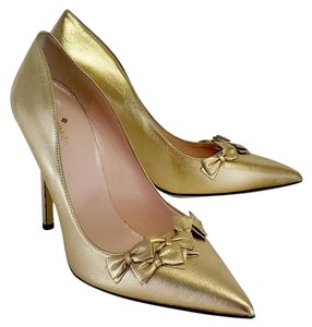 Kate Spade Gold Mini Bow Pointed Toe Heels Pumps