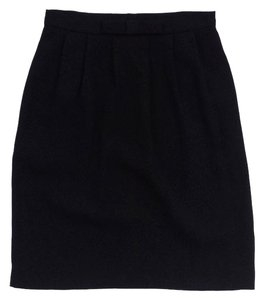 agnès b. Black Straight Pleated Bow Skirt