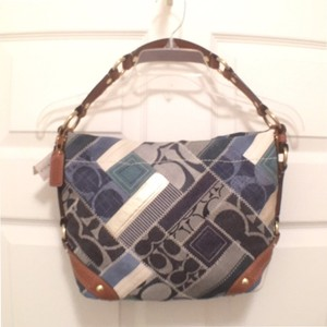 Coach New Nwt Signature Logo Denim Hobo Bag