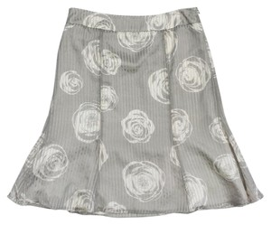 Armani Collezioni Grey & Cream Rose Print Silk Skirt