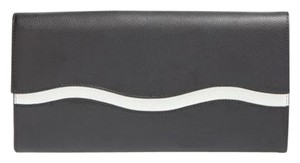Halogen Patent Leather Credit Card Black/white Clutch