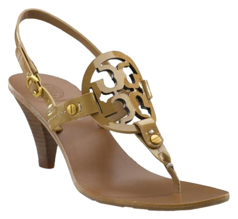 6b2ddc94f034 Tory Burch Tan Sand Patent Leather Summer Miller Logo Thong Sandals ...