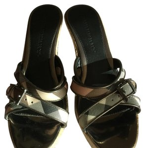 Burberry Silver/logo Wedges
