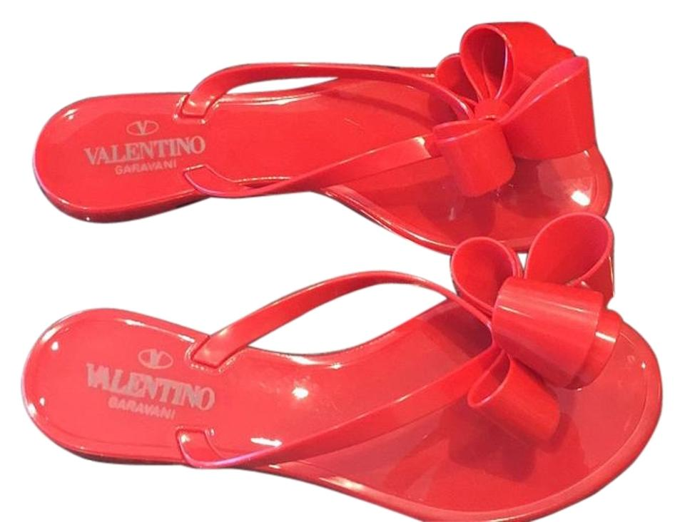 Valentino Bow Jelly Flip 37 Flop Red Rubber Pvc Flats 37 Flip Sandals b37e78