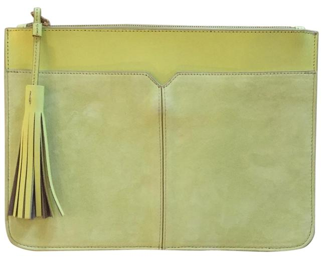 J.Crew And Tassel Lemon Pulp Leather & Suede Clutch J.Crew And Tassel Lemon Pulp Leather & Suede Clutch Image 1