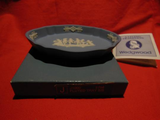 Blue Jasperware Fluted Oval Pin Tray In Box Decoration