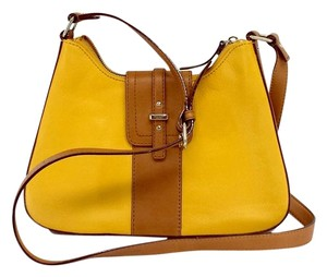 Kate Spade Yellow Brown Leather Cross Body Bag