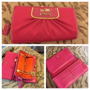 Coach Pink Satin Coach Wallet