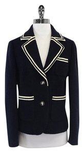 Tory Burch Navy & Cream Striped Trim Blazer