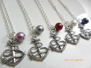 Other Set Of 6 Bridesmaid Necklace Anchor Necklace Bridesmaid Gift Weddings Jewelry Pearl Bridesmaid Necklace