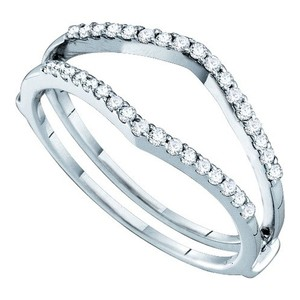 Luxury Designer 14k White Gold .25 Cttw Diamond Engagement Ring Enhancer Bridal Wedding Band
