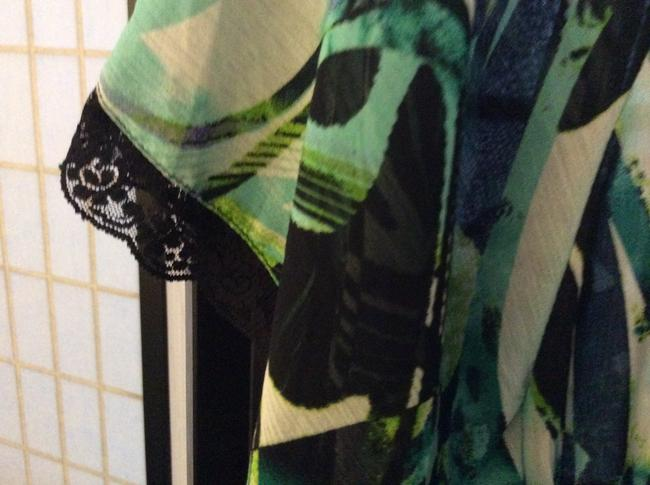 Sienna Rose Sheer Lace Top Black, green and white
