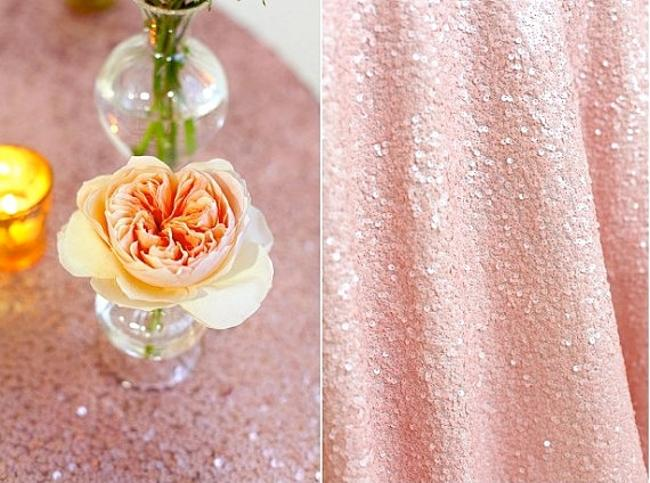 Item - Blush Pink Sequin Round Tablecloth