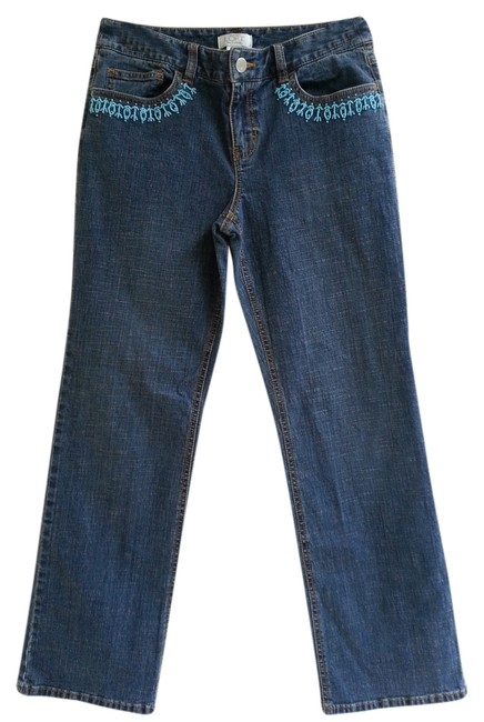 Ann Taylor LOFT Beaded Denim Decorative Straight Leg Jeans-Medium Wash