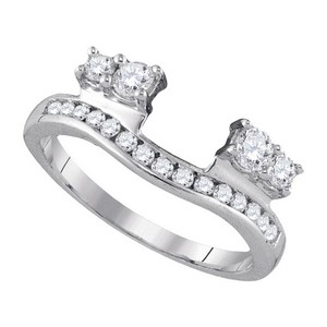 Luxury Designer 14k White Gold .50 Cttw Diamond Engagement Ring Enhancer Bridal Wedding Band