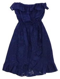 Lilly Pulitzer short dress Navy Floral Ruffled Strapless on Tradesy
