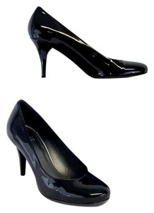 Stuart Weitzman Black Patent Leather Mid Pumps
