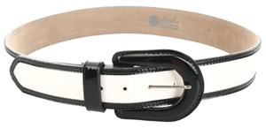 LANDES Contrast Trim Patent Leather 5-Hole Belt