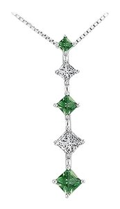 LoveBrightJewelry Created Emerald and Cubic Zirconia Journey Pendant 925 Sterling Silver 1.00 CT TGW