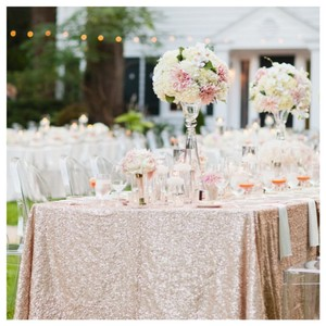 Champagne 90 X 132 In Rectangle Gold Sequin Tablecloth